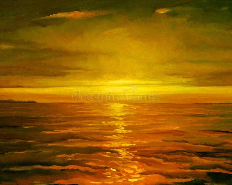 Por do sol no mar, pintando pelo óleo na lona, ilustração imagens de stock royalty free