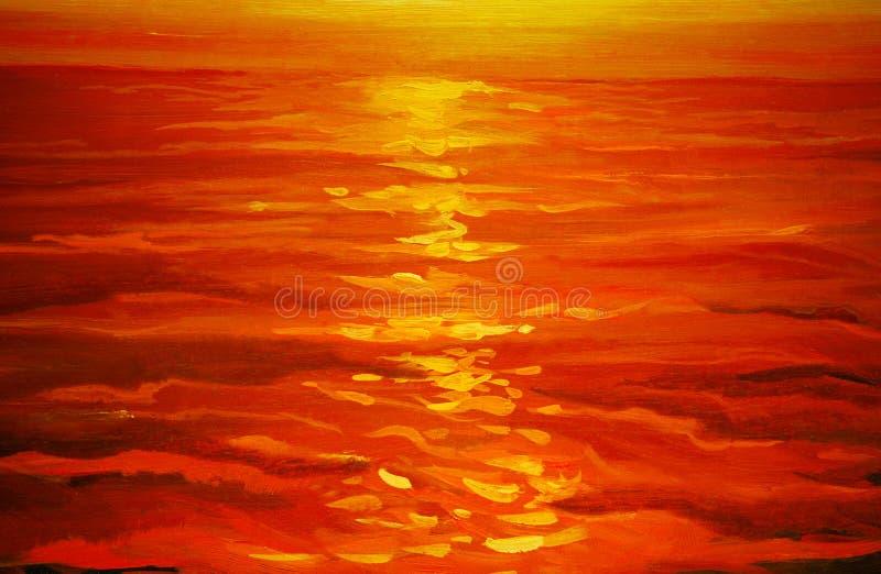 Por do sol no mar, pintura, ilustração ilustração stock