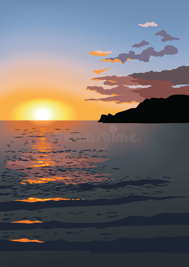 Por do sol no mar, vetor ilustração do vetor