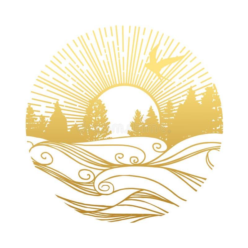 Por do sol no molde redondo do vetor da floresta ilustração royalty free