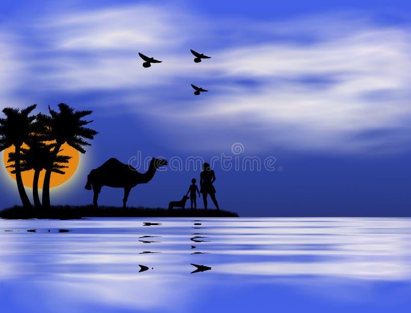Por do sol no Nile ilustração royalty free