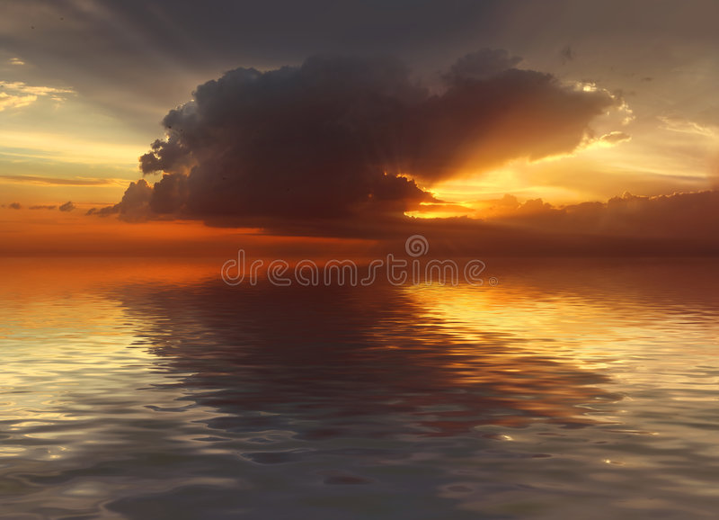 Por do sol no oceano imagem de stock