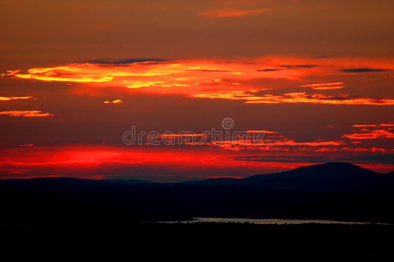 Por do sol no parque nacional do Arcadia imagem de stock