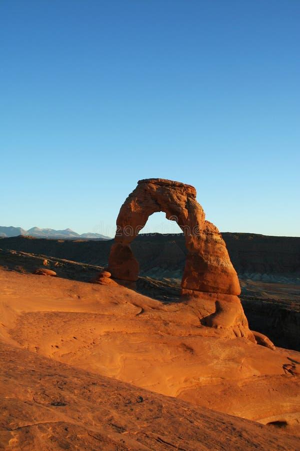 Por do sol no parque nacional do arco fotografia de stock royalty free