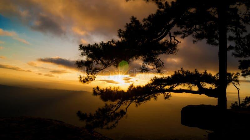 Por do sol no penhasco de Lomsak no parque nacional de Phu Kradung fotografia de stock