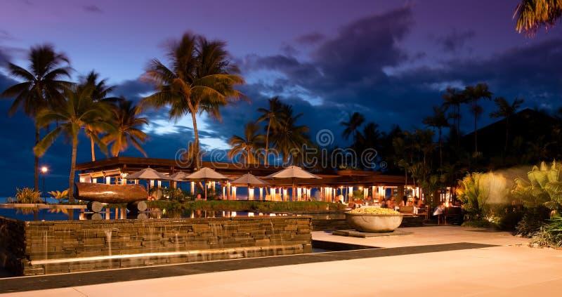 Por do sol no recurso de Sheraton em Fiji fotografia de stock