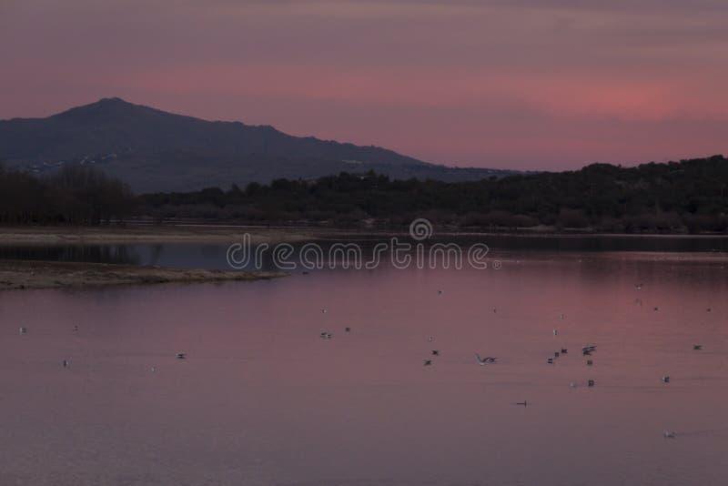 Por do sol no reservat?rio de Manzanares el Real, Madri fotografia de stock