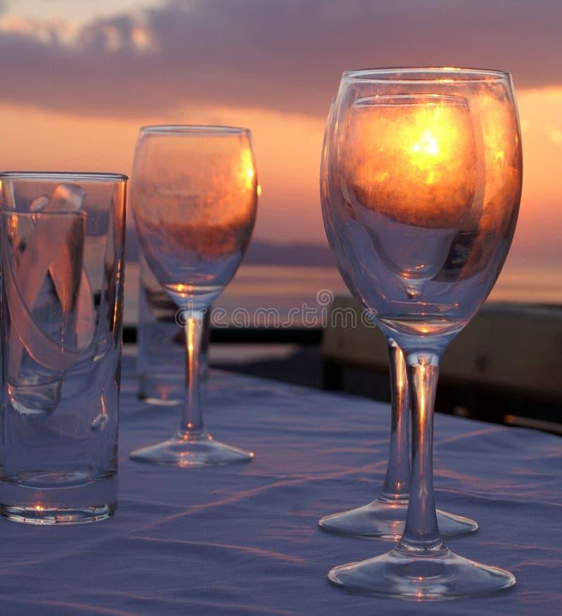 Por do sol no vidro imagens de stock