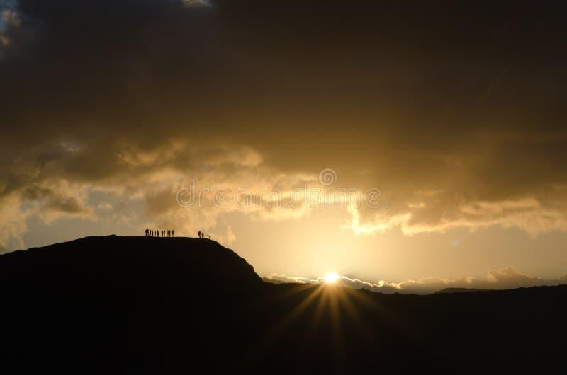 Por do sol no vulcão de Yasur fotografia de stock