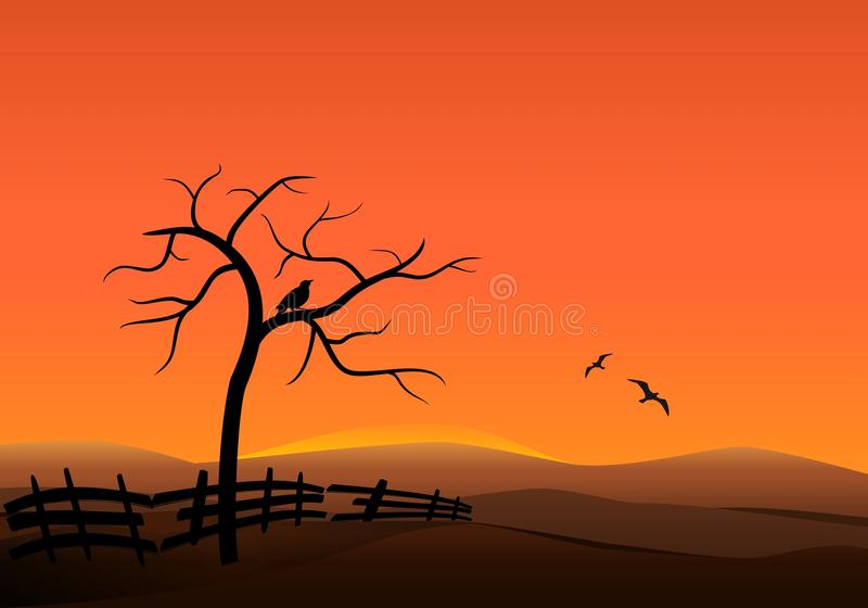 Por do sol nos montes ilustração royalty free