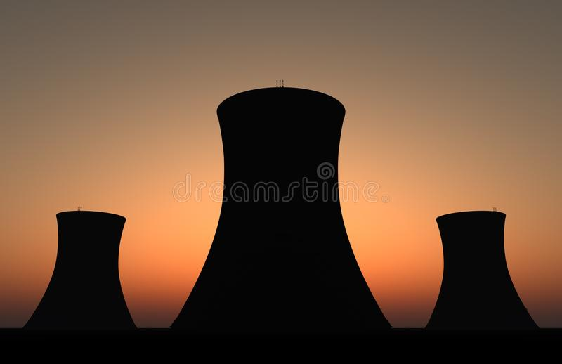 Por do sol nuclear foto de stock royalty free