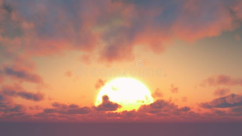 Por do sol - nuvens grandes do sol e de cúmulo