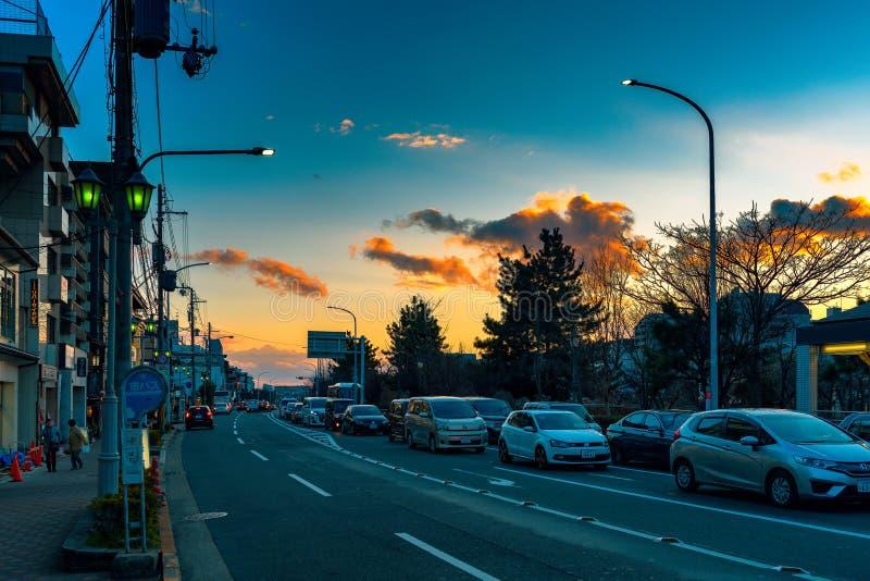Por do sol ocasional em Kyoto imagens de stock