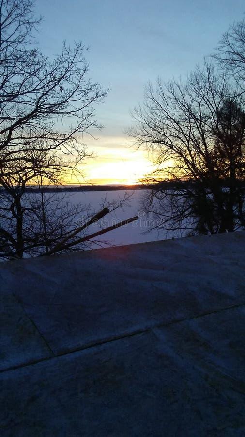 Por do sol ocidental do lago de mcdonald fotografia de stock royalty free