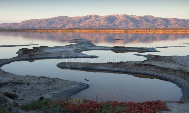 Por do sol, pântano de Alviso, Califórnia, fotografia de stock royalty free