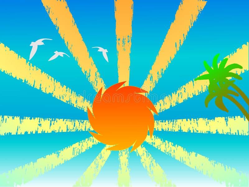 Por do sol, palmas e pássaros ilustração royalty free
