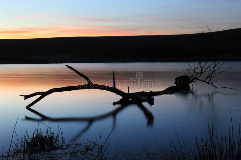 Por do sol pelo lago imagem de stock royalty free