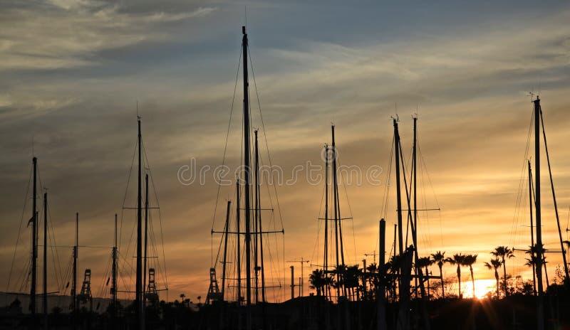 Por do sol do porto dos veleiros fotos de stock royalty free
