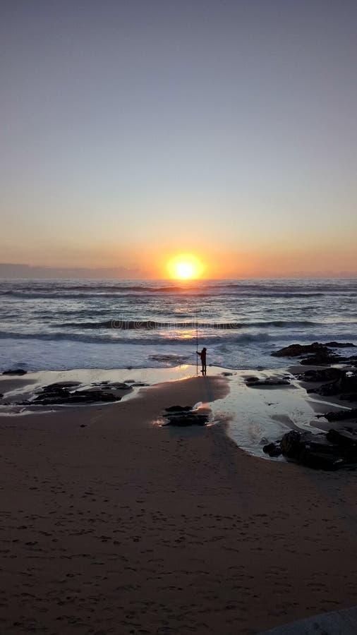 Por do sol Portugal Apúlia imagem de stock