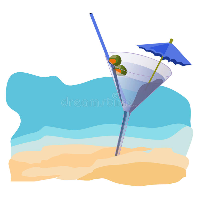 Por do sol, praia, verão, mar, sol, areia, cocktail fotografia de stock royalty free
