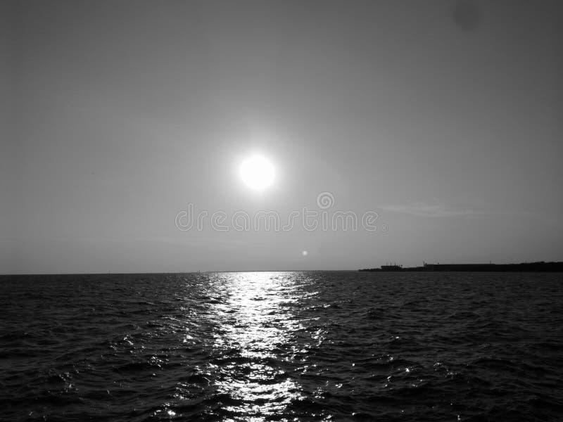 Por do sol preto & branco imagens de stock