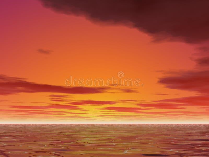 Por do sol quente ilustração stock