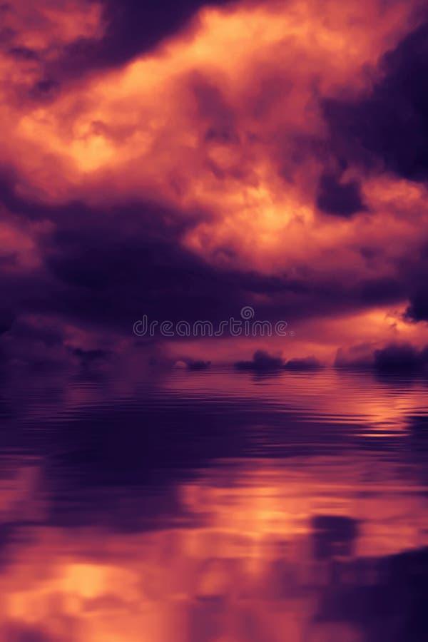 Por do sol refletido em uma ?gua fotografia de stock