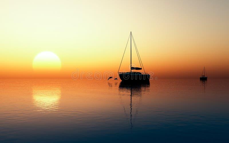 Por do sol refletindo foto de stock royalty free