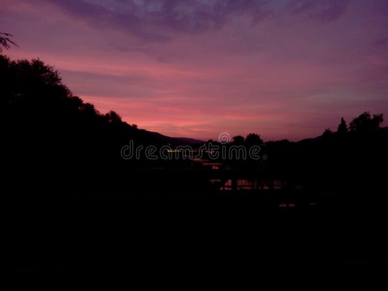 Por do sol romântico imagens de stock