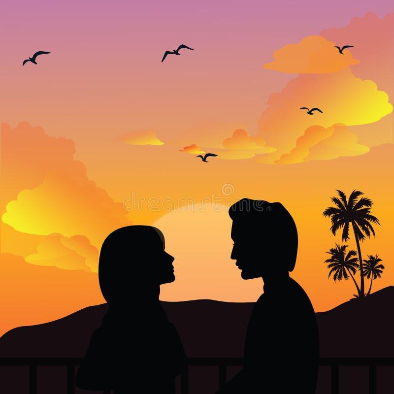 Por do sol romance das meninas da mulher do homem da silhueta dos pares ilustração royalty free