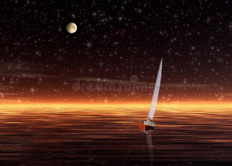 Por do sol. Sailer só ilustração royalty free