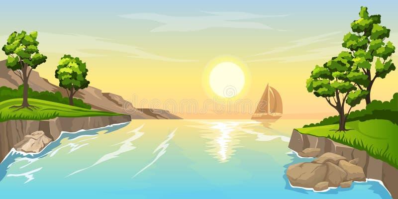 Por do sol do Seascape com navio fotografia de stock royalty free