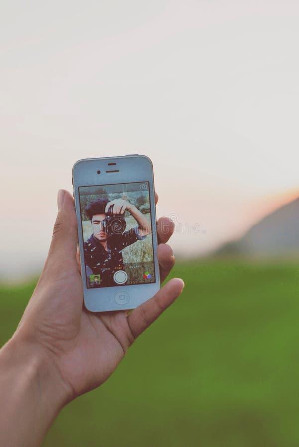 Por do sol Selfie fotografia de stock