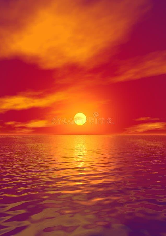 Por do sol sobre a água ilustração stock
