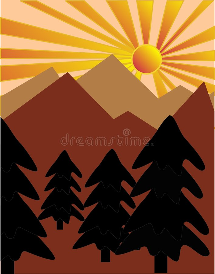 Por do sol sobre as árvores de pinho ilustração stock