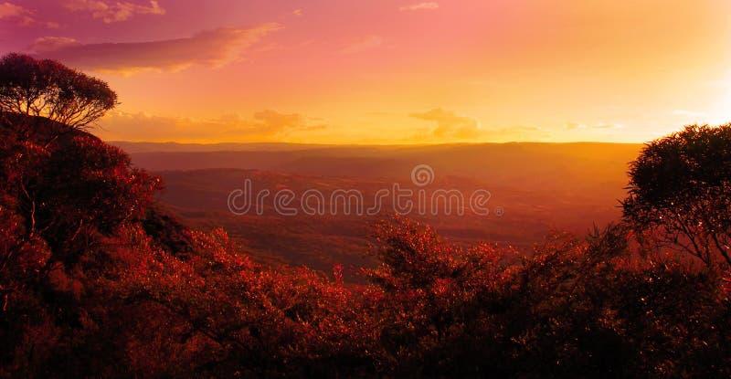 Por do sol sobre as montanhas e as árvores imagens de stock royalty free