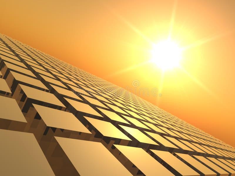 Por do sol sobre a grade do cubo ilustração do vetor