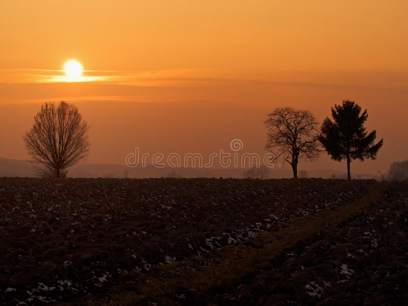 Por do sol sobre o campo fotos de stock royalty free