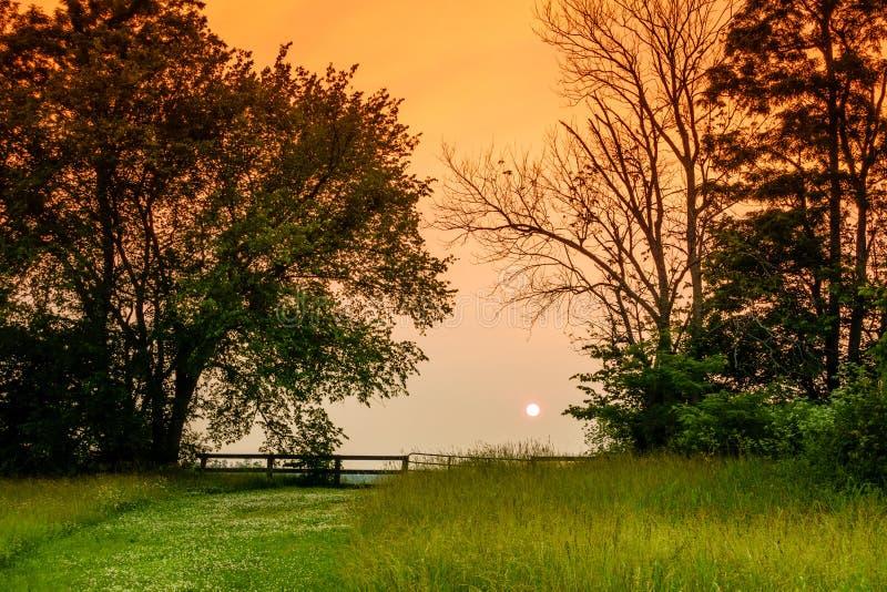 Por do sol sobre o campo de Kentucky fotografia de stock