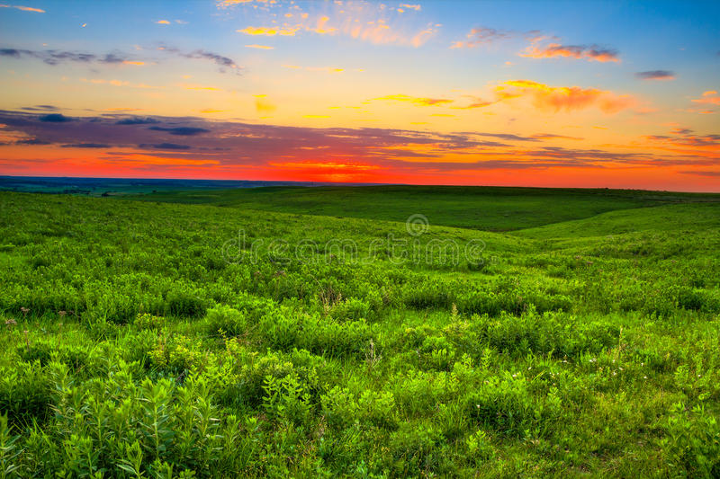 Por do sol sobre o Kansas Flint Hills fotos de stock