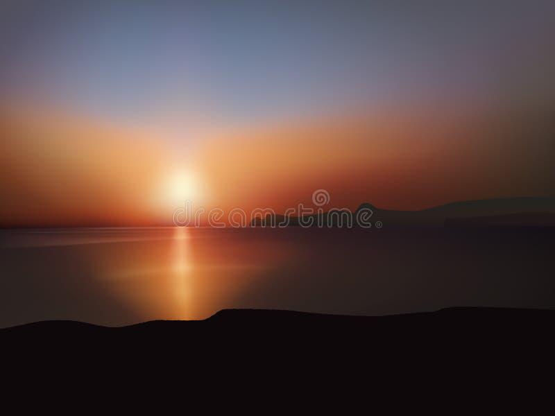 Por do sol sobre o mar ilustração do vetor