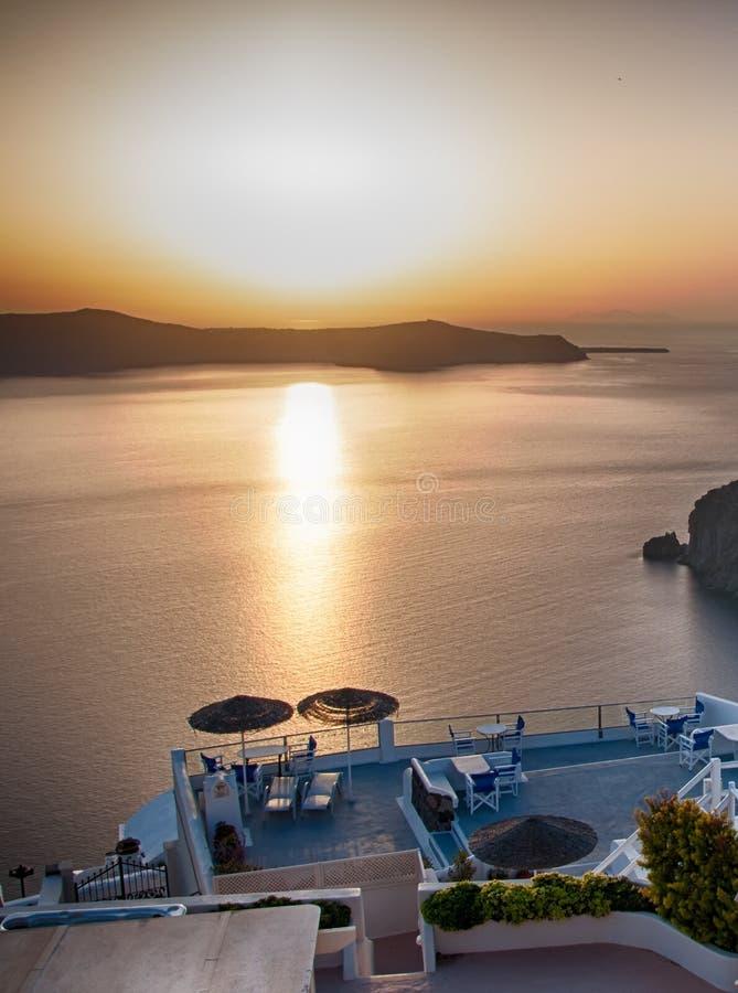 Por do sol sobre o Mar Egeu, Oia, Santorini, Grécia fotografia de stock royalty free