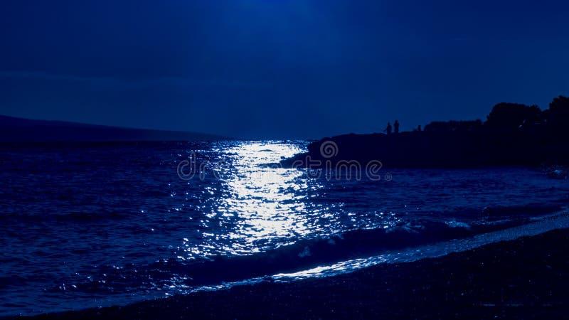 Por do sol sobre o mar no azul fotografia de stock