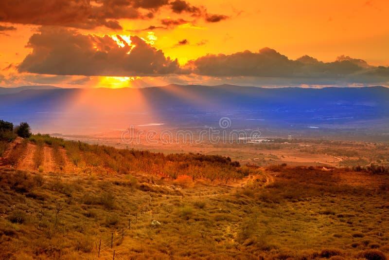 Por do sol sobre o vale de Hula foto de stock
