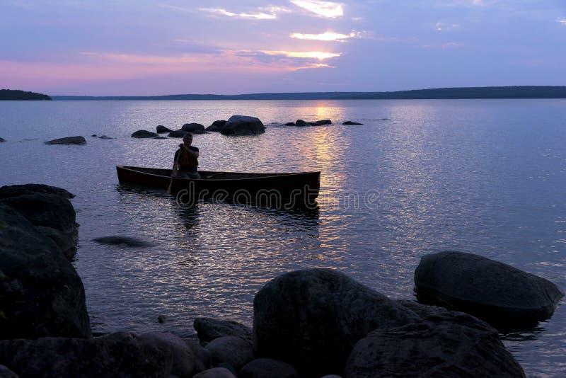 Por do sol sobre primeiras nações de Beausoleil - baía Georgian, Ontário imagens de stock royalty free