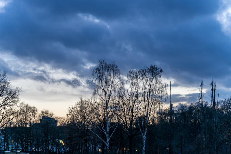 Por do sol sobre um parque, em Berlim fotos de stock royalty free