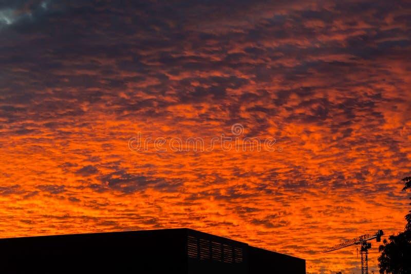 Por do sol sobre Wagga Wagga, Austrália fotografia de stock royalty free