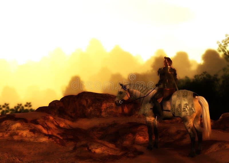 Por do sol solitário de Wolf Warrior On Mountain Looking ilustração do vetor