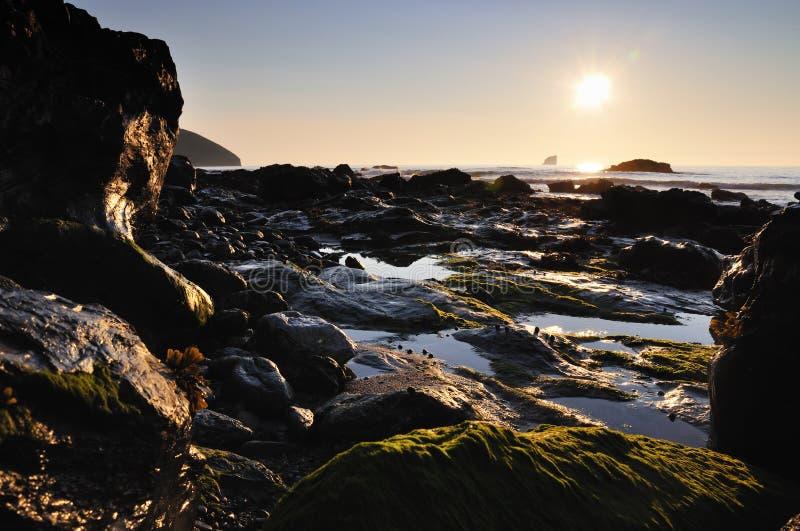 Por do sol, St Agnes, Cornualha foto de stock