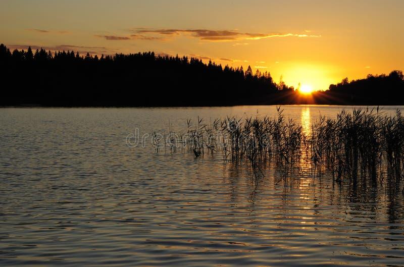 Por do sol sueco idílico foto de stock